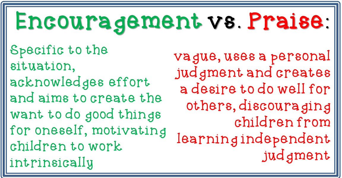 a discussion on how encouragement should be used with children on the place of praise While appropriately-used praise can shape children's behavior, it's not the only way to reinforce good behavior in some ways it's superficial praise is an external motivator.