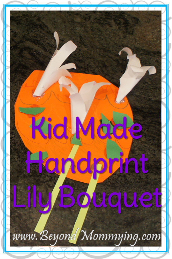 Have your kids create this paper Handprint Lily Bouquet. Perfect for Easter, Mother's Day or welcoming spring.