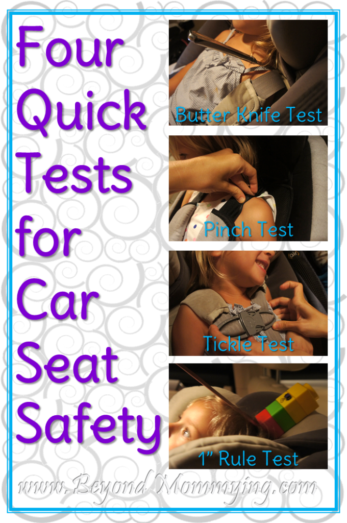 How to use the knife test, pinch test, tickle test and 1 inch test to ensure your child's car seat is properly tightened and fit to your child for safety.