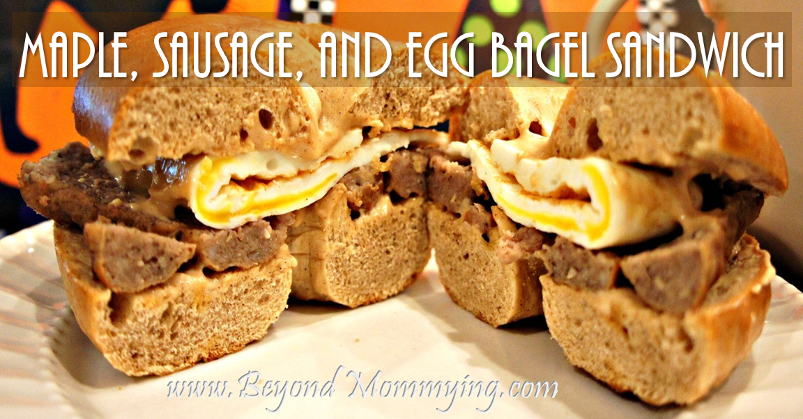 Maple, Sausage, and Egg bagel sandwich fb