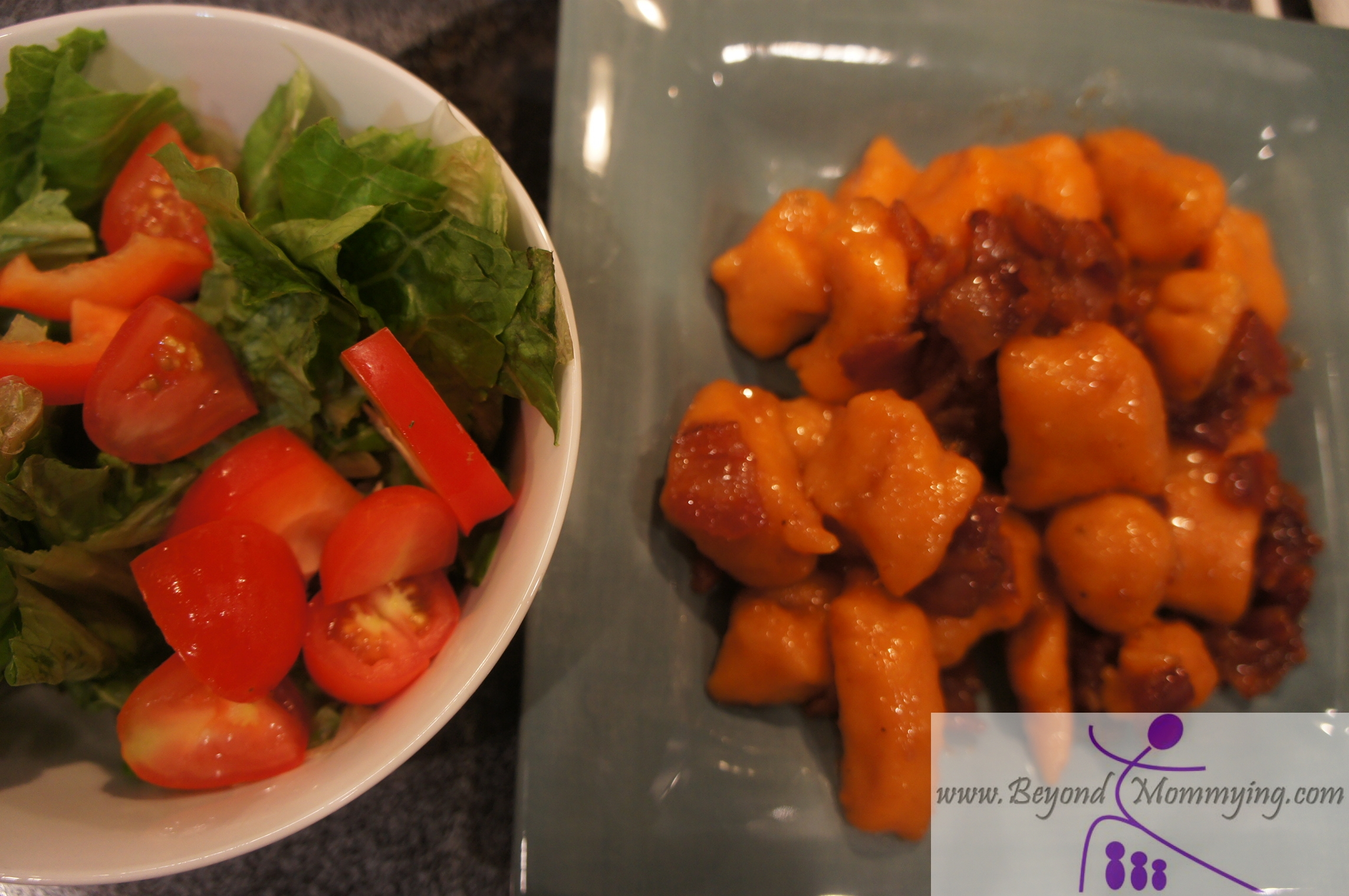 sweet potato gnocchi with maple bacon