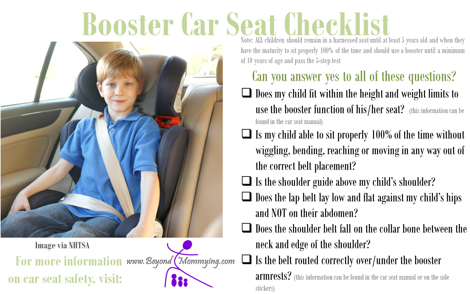Car Seat Safety Checklists For Proper Car Seat Use