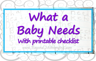 Printable list for what a baby needs