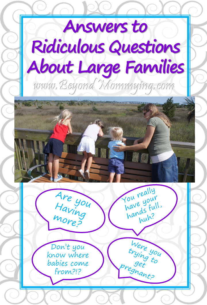 Blunt answers to the ridiculous questions people ask about large families