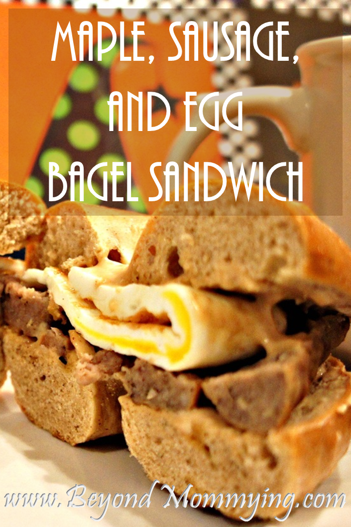 Maple, Sausage, and Egg bagel sandwich