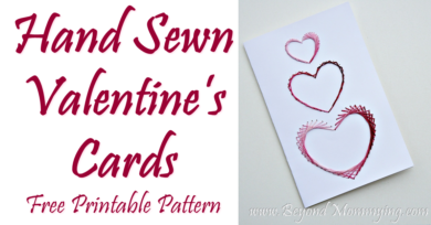 Hand Sewn Valentine's Card, free printable pattern