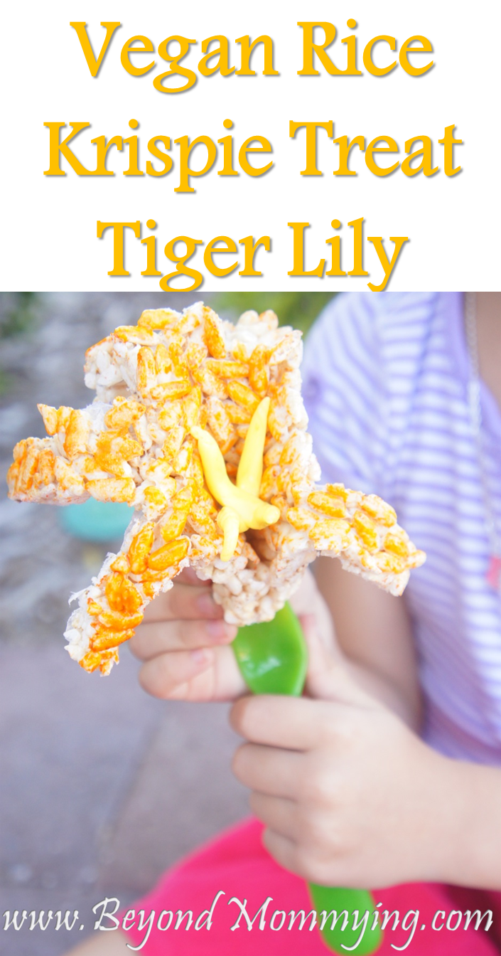 Vegan Rice Krispie Treat recipe and how to make Tiger Lilies with handprints