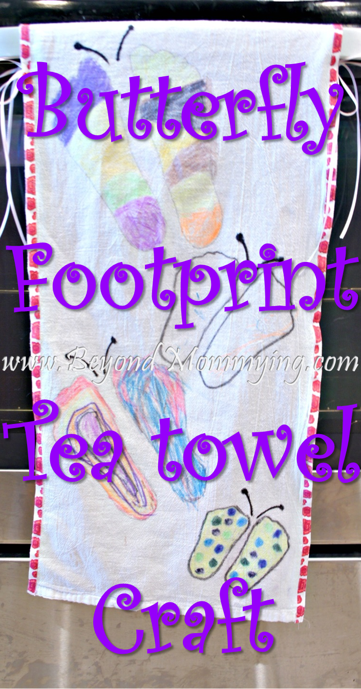 butterfly footprint tea towel craft