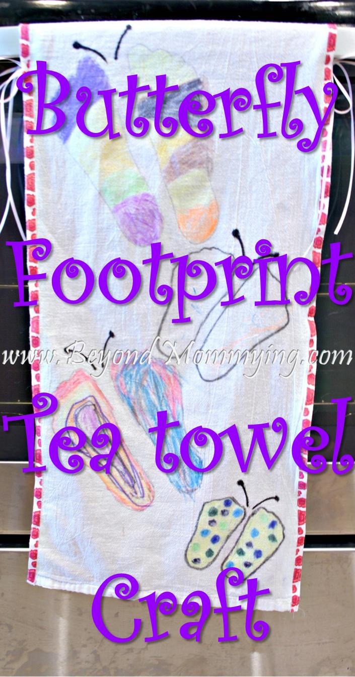 butterfly footprint tea towel craft