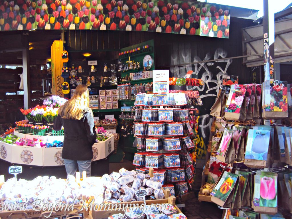 Traveling to Amsterdam with Kids, visiting the Bloemenmarkt flower market