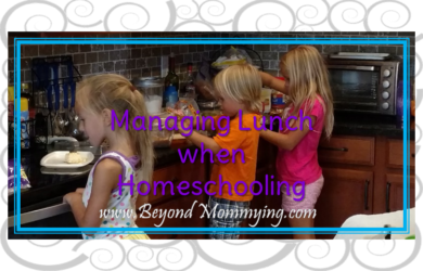 Ways to manage lunch when homeschooling. Different ideas for getting everyone fed in the middle of the day.