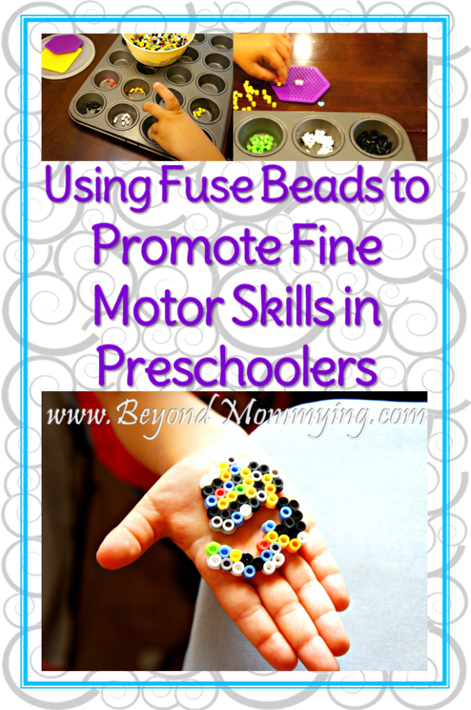 Using fuse beads is a great way to promote fine motor development and give preschoolers the chance to practice their fine motor skills.