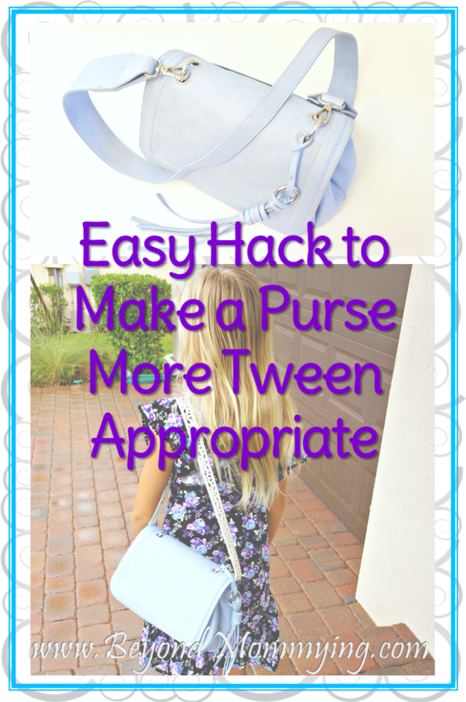 Tween Purse Hack: One simple change that makes an adult purse more appropriate for a tween or young girl.