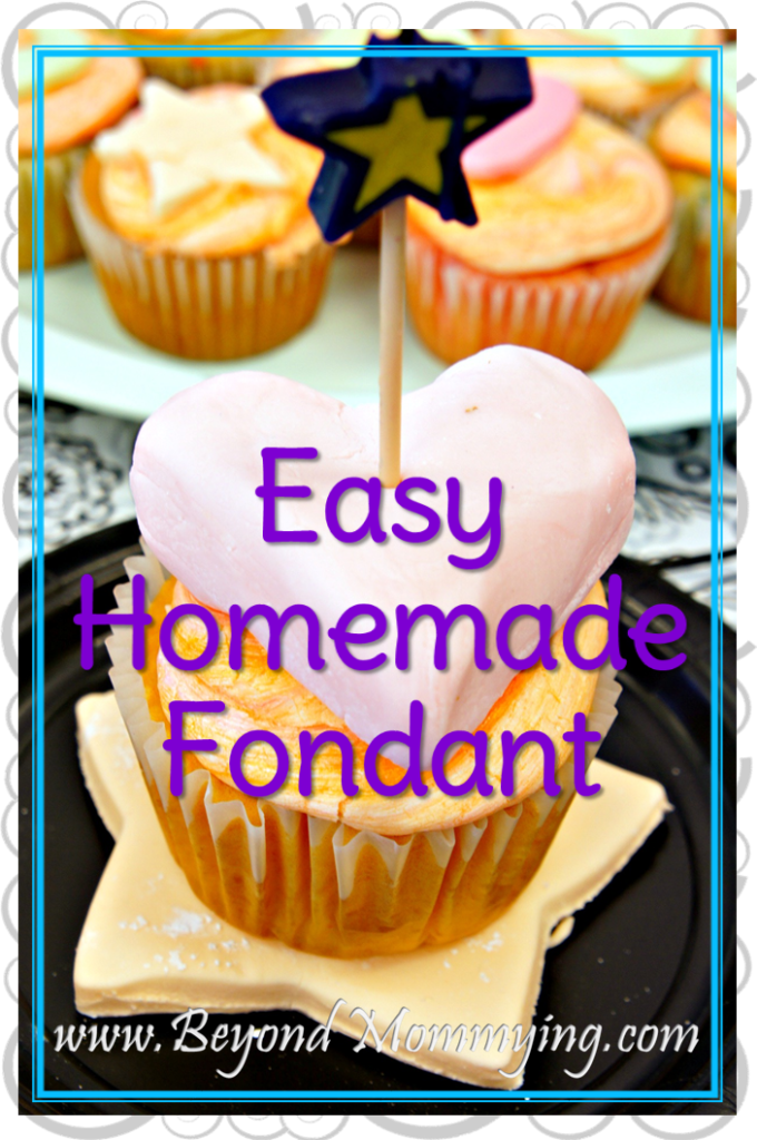 Recipe for easy homemade fondant for covering cakes or creating decorations for cakes or cupcakes.